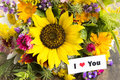 I Love You Card with Bouquet of Summer Flowers Royalty Free Stock Photo