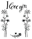 I love you card with flowers Royalty Free Stock Images
