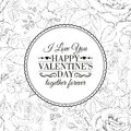 I love you card over roses pattern vector illustration Stock Photography