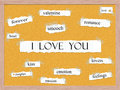 I love you corkboard word concept with great terms such as smooch lovers passion heart and more Royalty Free Stock Photography