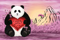 I love you digital art illustration big panda with a silk pillow in the shape of heart and words Stock Photography