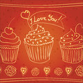 I love you! doodle cupcakes Stock Image