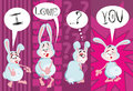 I love you enamored rabbit illustration cartoon romantic card declaration of Stock Photo