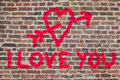 I Love You Graffiti Stock Images