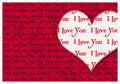 I love you greeting card romantic with hearts and text Stock Image