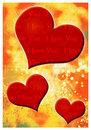 I love you greeting card romantic with hearts and text Royalty Free Stock Images