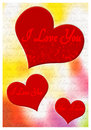 I love you greeting card romantic with hearts and text Stock Images