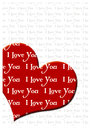 I love you greeting card romantic with hearts and text Royalty Free Stock Photos
