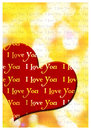 I love you greeting card romantic with hearts and text Stock Photos
