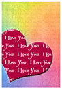 I love you greeting card romantic with hearts and text Stock Photo