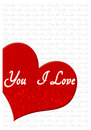I love you greeting card romantic with hearts and text Stock Photography