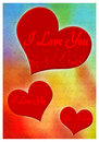 I love you greeting card romantic with hearts and text Royalty Free Stock Photo