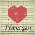 I love you grunge red heart on brick wall background Stock Photos