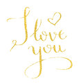 I love you hand drawn text calligraphy for Valentine Day greeting card.