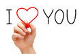 I love you hand writing with red marker on transparent wipe board Royalty Free Stock Photography