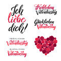 I Love You. Happy Valentines Day. German Black and Pink Lettering Set. Greeting Card White Background. Hand Drawn