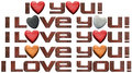 I love you hearts and metal letters set of written with typefaces in with stone wooden Royalty Free Stock Images