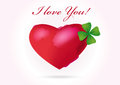 I love you illustration of heart with clover leaf Royalty Free Stock Photo