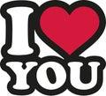 I love you - lettering cartoon Royalty Free Stock Photo