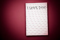 I love you note pad blanked Royalty Free Stock Photo