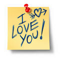 I love you office note affection feelings of valen Stock Photography
