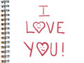 I love you painted in red color on white sketchboo Stock Photo