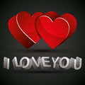 I love you phrase with d letters and two hearts vector Royalty Free Stock Image
