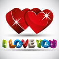 I love you phrase made with 3d colorful letters and two red hear Royalty Free Stock Photo
