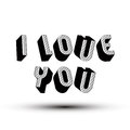 I love you phrase made with d retro style geometric letters valentine s day text Royalty Free Stock Photos
