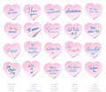 I love you post its twenty heart shaped with the phrase in twenty different languages Royalty Free Stock Image