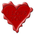 I love you - red wax seal Stock Photography