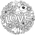 I love you. Rounder frame made of flowers, butterflies, birds kissing and the word love.