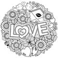 I love you. Rounder frame made of flowers, butterflies, birds kissing and the word love. Royalty Free Stock Photo