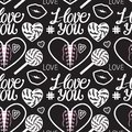 I Love You Seamless Pattern. H...
