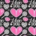 I love you seamless pattern. Pink Heart corset, caramel, kiss, lollipop and lettering type. Vector illustration on dark.