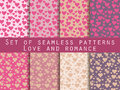 I love you. Set of seamless patterns with hearts. Festive pattern for wrapping paper, wallpaper, tiles, fabrics, backgrounds. Royalty Free Stock Photo