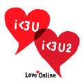 I love you social networking speech bubbles vector eps image Royalty Free Stock Image