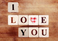 I love you spelled in wooden blocks with heart Stock Photos