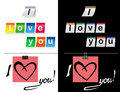 I love you stickers in black and white illustration of the inscription on a background colored Royalty Free Stock Photos