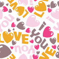 I love you sweet vector eps seamless pattern illus illustration with words and hearts Royalty Free Stock Images