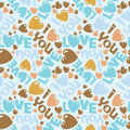 I love you sweet vector eps seamless pattern illus illustration with words and hearts Stock Images
