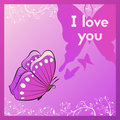 I love you. Sweetheart purple postcard with a butterfly.