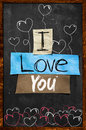 I love you text on blackboard wallpaper Stock Photos