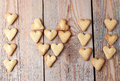 I love you text making with heart cookies for Valentine's day Royalty Free Stock Photo