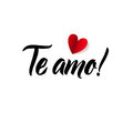 I Love You. Valentines Day Spanish or Portuguese Black and Red Lettering Greeting Card White Background. Hand Drawn