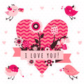 I love you vector card (background) in light and dark pink and brown colors with birds and heart Royalty Free Stock Photo