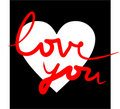 I love you in white, black and red Royalty Free Stock Images