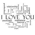 I love you word cloud concept on in black and white with great terms such as valentine lovers kiss romance more Royalty Free Stock Images