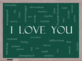 I love you word cloud concept on a blackboard with great terms such as valentine lovers kiss romance and more Stock Image