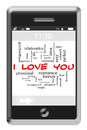 I love you word cloud concept on touchscreen phone of with great terms such as romance lust kiss sexy and more Stock Photos